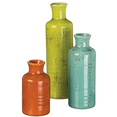 Sullivans 5-10  Set of 3 Decorative Crackled Vases in Orange, Green, and Blue