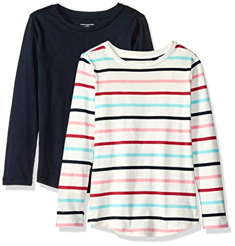 Amazon Essentials Toddler Girls' 2-Pack Long-Sleeve Tees, Multi Stripe White and Navy, 4T