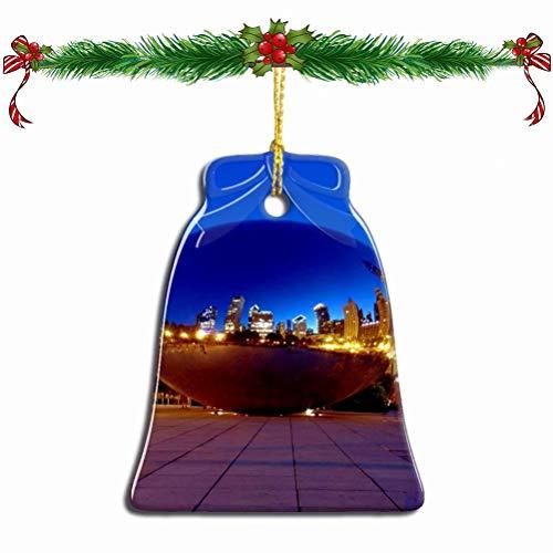 Fcheng USA America Cloud Gate、Millennium Park Chicago Christmas Ornament Ceramic Xmas Tree Decor Bell Shape City Travel Souvenir Sublimation Porcelain Home Decorative Hanging Gifts (Chicago Millennium Christmas Park)