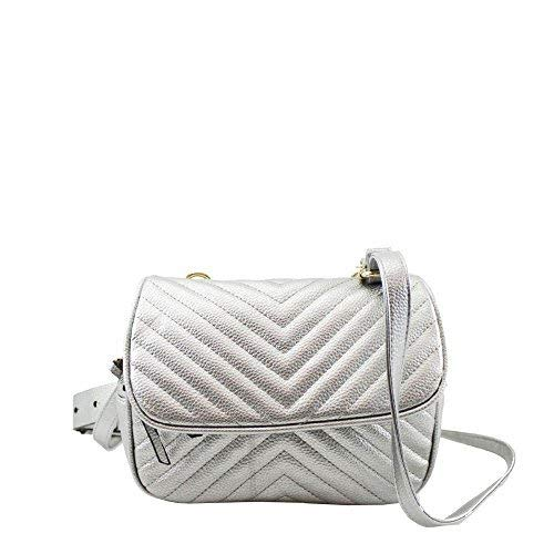 New Silver Quilted Shoulder Leather Convertible Bag Bum s Waist Women Faux raZrvwqS