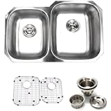 32 inch Undermount 40/60 Double Bowl 16 gauge Stainless Steel Kitchen Sink Proofing By SuperSuper