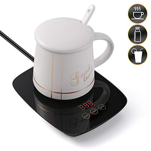 Coffee Mug Warmer For Desk Auto Shut Off Beverage Warmer-(Up to 167F℉/75℃) for Home & Office Use (with white Ceramic Mug)