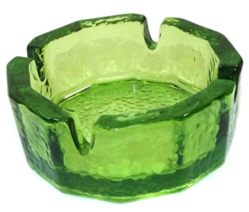 (Vintage Thick Chunky Green Glass Art Glass Octagonal)