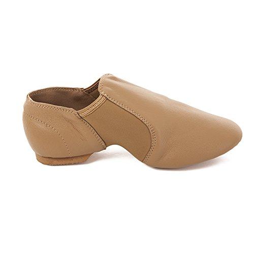 Factory Second Tan Slip on Split Sole Full Grain Leather Jazz Shoe With Neoprene Inserts Tan skrgB