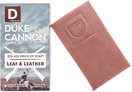 Duke Cannon Great American Frontier Men's Big Brick of Soap - Leaf + Leather, 10oz, Blue, 1 Bar
