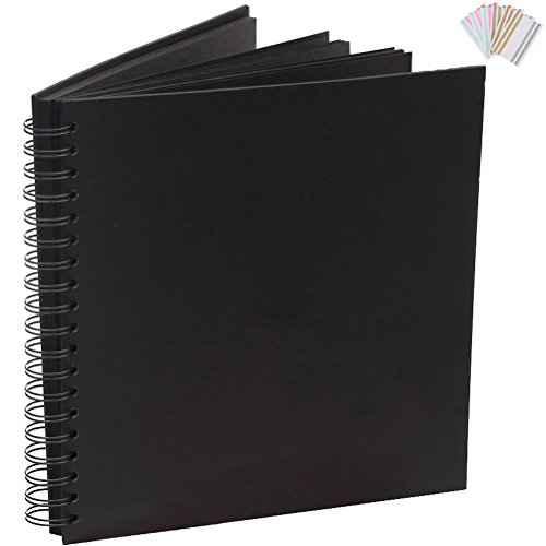 Wedding Guest Book Smarimple Blank Expandable Scrapbook DIY Photo Album Photo Booth Album 80 Pages,Black (8 (Expandable Spiral)