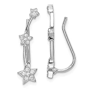 Sterling Silver Rhodium-plated Cubic Zirconia Star Ear Climber Earrings