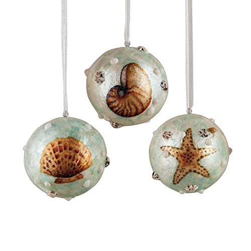 Shell Pearlized Ball Nautical Blue 4 inch Capiz Christmas Ornaments Set of 3 ()