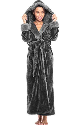 Alexander Del Rossa Women's Warm Fleece Robe with Hood, Long Plush Bathrobe, Small Medium Steel Grey with Faux Fur (A0296STLMD)