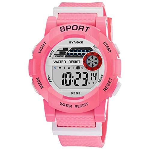 Student Sports Electronic Watch,Roumin Fashion Watch Multi-Function Luminous Waterproof Leisure(Pink)