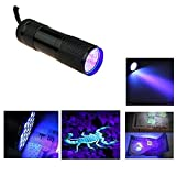 LED Flashlight Black Light 9 Ultra Violet Blacklight Torch Light Lamp 9AAA for Outdoors Hiking Camping Cycling Hunting, Backpacking, Fishing, BBQ and EDC