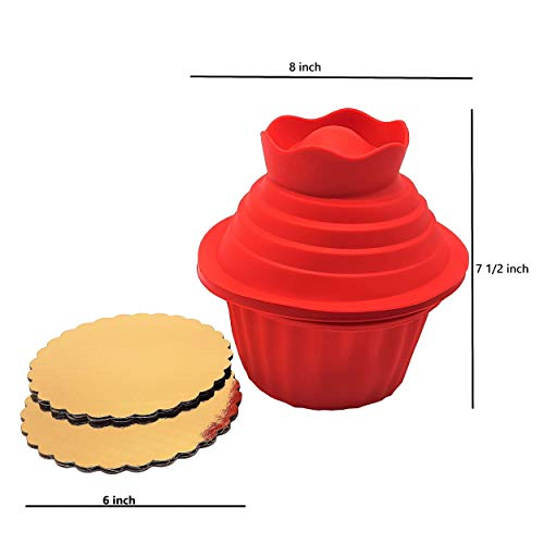 New 5pcs Big Top Giant Silicone Cupcake Bakeware Set Bundle With 6-inch Gold Circle Corrugated Cake Boards