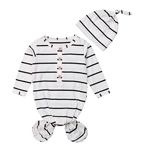 - Unisex Newborn Baby Gown Nightgown Sleepwear Striped Sleeping Bags Boy Girl Coming Home Outfit (0-6months, Black)