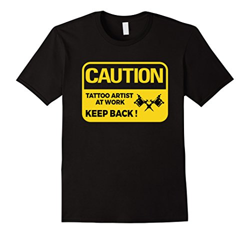 Mens Caution Tattoo Artist Funny T Shirt Gift