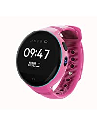 Smart Watch for Kids, 1.22 inches Round Screen GPS Tracker with Camera GSM SIM Calls Anti-lost SOS Smart Bracelet for Children Girls Boys - Pink
