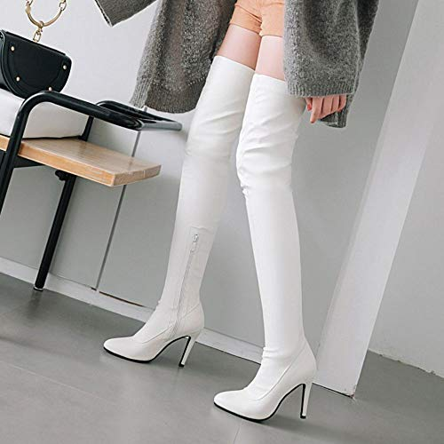 Bout Taoffen Pointu 6 Talon Femmes Bottes Cuissardes Aiguille Blanc À Zipper 45w7OCq