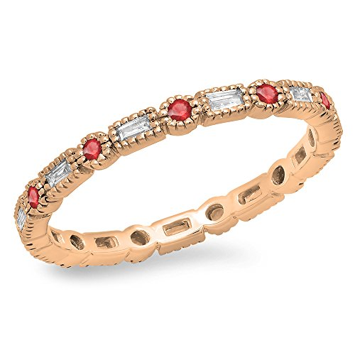 (Dazzlingrock Collection 14K Round & Baguette Ruby & White Diamond Wedding Eternity Stackable Band, Rose Gold, Size 7)