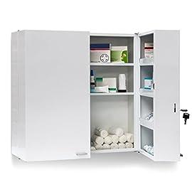 bianco Armadietto medicinali cassetta farmaci con 2 ripiani bagno corridoio 31 x 11 x 36 cm colore