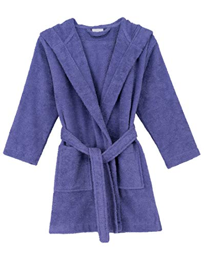 TowelSelections Big Girls' Robe, Kids Hooded Cotton Terry Bathrobe Cover-up Size 8 Aster - Made Machine Rope
