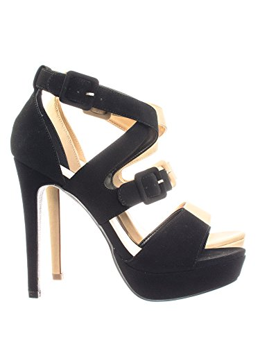 Aquapillar High Heel Platform Open Toe Cage Dress Sandal w Double Buckles (High Heel Platform Cage)