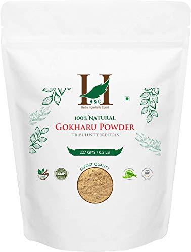 100% Natural Organically Grown Tribulus Terrestris Powder/Gokharu Powder/Gokshura Powder - 227 gms/1/2 LB Pound/08 Oz - Promotes Overall Health - GMO and GLUTEN FREE