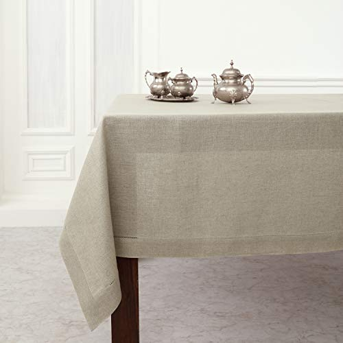 Solino Home Hemstitch Linen Tablecloth - 60 x 120 Inch, 100% Pure Linen Natural Tablecloth for Indoor and Outdoor use (Linens Table Autumn)