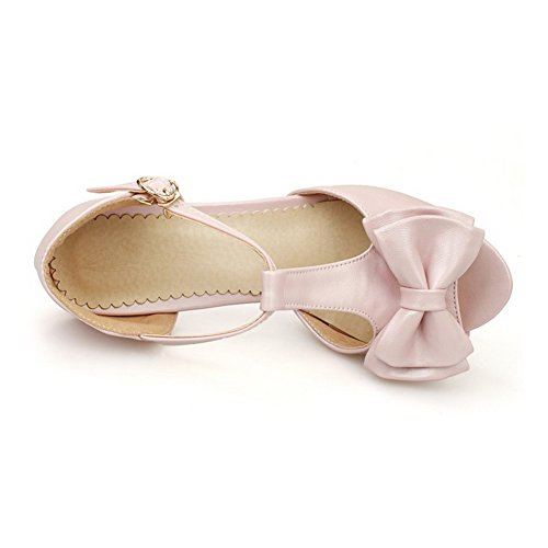 WeenFashion High Pu Solid Sandals Buckle Heels Pink Peep Women's Toe PrwPxqCvn
