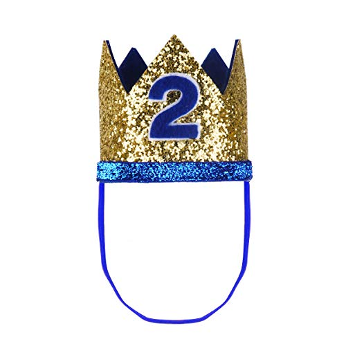 dPois Infant Unisex Baby Boys Girls' First 1st/2nd Birthday Party Crown Cake Smash Photo Prop Pictures Hat Gold&Blue 2 One Size]()