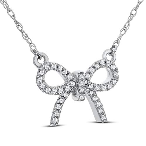 Bow With Diamond Necklace - DIAMOND COUTURE 14K White Gold 0.10 Carat Diamond Bow Necklace 16