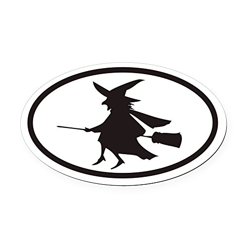 CafePress - Flying Witch on a Broom Euro Oval Car Magnet - Oval Car Magnet, Euro Oval Magnetic Bumper Sticker