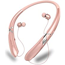 LSCHARM Bluetooth Headphones Retractable Earphones Neckband Sport Wireless Earbuds Stereo Waterproof Noise Cancelling Headsets with Mic for iPhone Samsung iPad (RoseGold)
