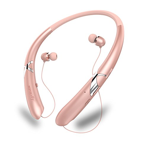 LSCHARM Bluetooth Headphones Retractable Earphones Neckband Sport Wireless Earbuds Stereo Waterproof Noise Cancelling Headsets with Mic for iPhone Samsung iPad (RoseGold) -
