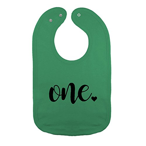 We Match! Unisex-Baby - One - First Birthday Thick PREMIUM 2-Ply Cotton Baby Bib With Snaps (Kelly)