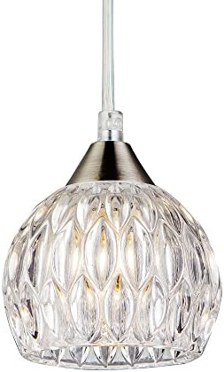 SOTTAE Modern Style Hanging Light Fixture 59.05 Inches Cord Adjustable Bar Kitchen Pendant Light, Glass Shade Ceiling Light for Living Room
