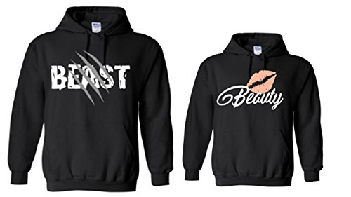 TheTshack Matching Couple Beast Beauty His and Her Hooded Sweatshirt Pullover (Mens (XXXL) + Women (XXXL), Black) by TheTshack