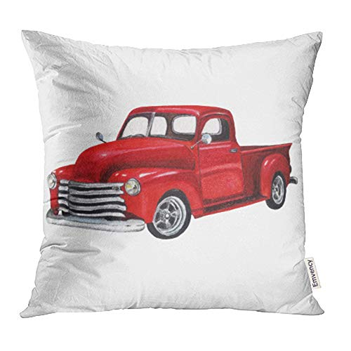 Emvency Throw Pillow Covers Cases Red Old Watercolor Vintage Toy Model Truck White Design Pickup Car Classic Retro Van Print Decorative Pillowcases 18