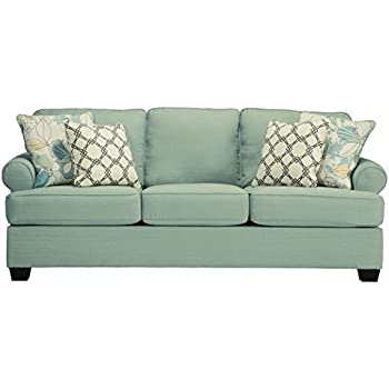 Ashley Furniture Signature Design   Daystar Sleeper Sofa With 4 Pillows    Queen Mattress   Seafoam