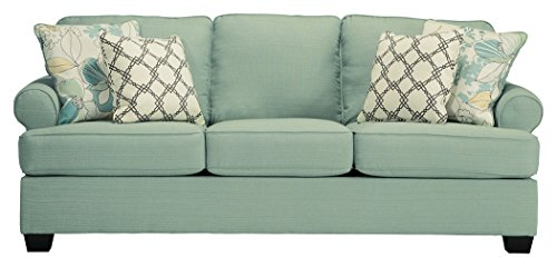 Ashley Furniture Signature Design - Daystar Sleeper Sofa with 4 Pillows - Queen Mattress - Seafoam ()