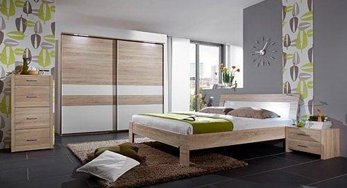 Schlafzimmer 3-tlg. in Eiche sägerau-Nachb. mit Abs. in Alpinweiß, Schrank B: 250 cm, Bett Liegefläche 180 x 200 cm, Nachtschränke B: 58 cm