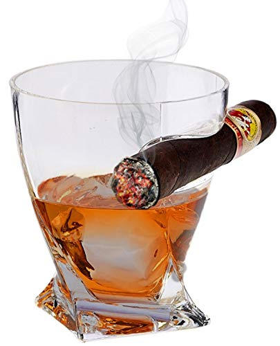 Bezrat Twist Whiskey Cigar Glass – Double Old Fashioned Glass with Built-In Cigar Holder ()