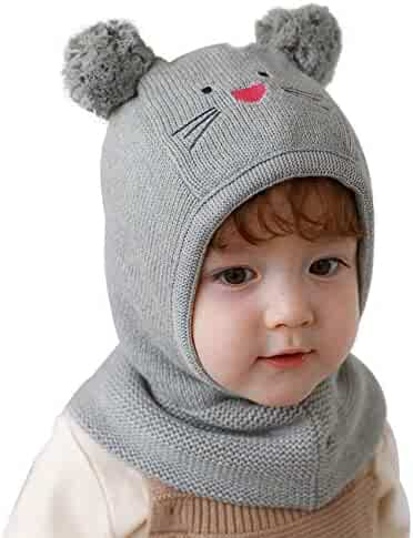 LLmoway Baby Toddler Kids Winter Hats Warm Windproof Knit Scarf Hood Fleece Hat