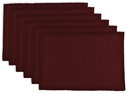 DII Washable Ribbed Cotton Placemat, Set of 6, Wine Red - Perfect for Fall, Dinner Parties, BBQs and Everyday Use (Wine Red Table)