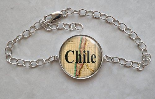 (Chile 1822 Map Sterling Silver Charm Bracelet)