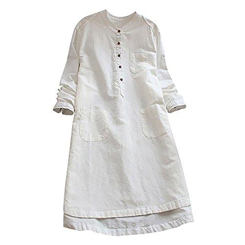 Longue Chemise avec Tonsi rtro Blouse Robe Blanc Boutons Longues Manches Chic 1qYfwf7