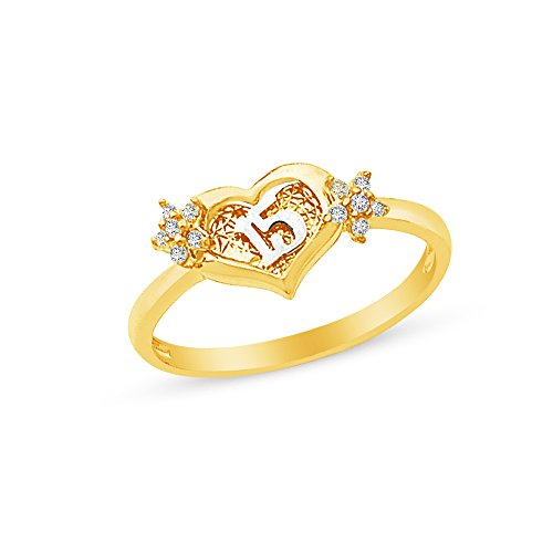 Size - 7.5 - 14k Yellow Gold Highest Quality CZ Cubic Zirconia 15 Years Birthday Heart Ring by Sonia Jewels
