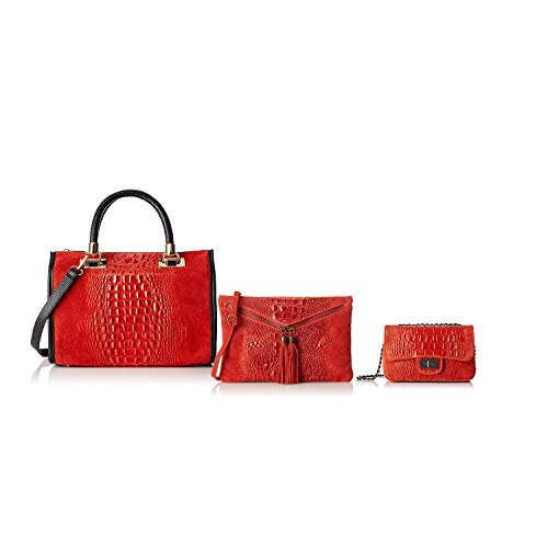 Rouge Sacs En Borse Italy Made Bundle Chicca Cuir In 8Eq4nd5