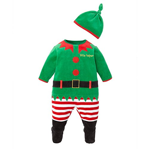 Happy Cherry Baby Kids Cute Christmas Santa Clause Romper Costume Clothing with Hat, 70CM (Reindeer Baby Costume)