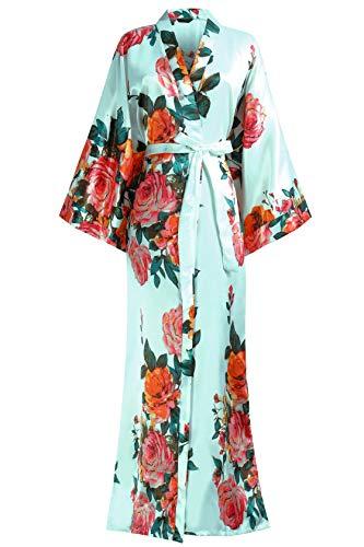 """BABEYOND Kimono Robe Long Floral Bridesmaid Wedding Bachelorette Party Robe 53"""" (Lake Blue)"""