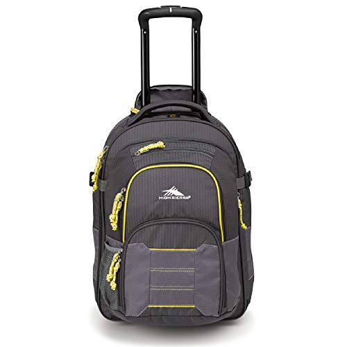 - High Sierra Ultimate Access 2.0 Carry-on Wheeled Backpack, Mercury/Charcoal/Yell-O