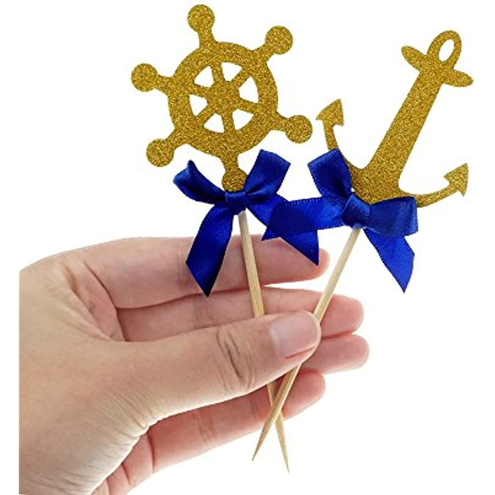 Nautical Theme Cupcake Cake Toppers Picks Anchor Boat ...